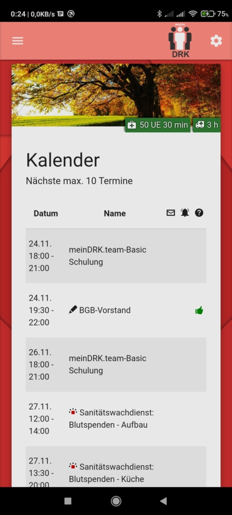 meinDRK.team Screenshot Kalender