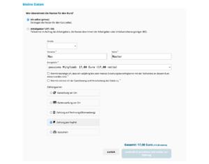 Öffentliche Teilnehmeranmeldung mit Auswahl von Zahlungsarten