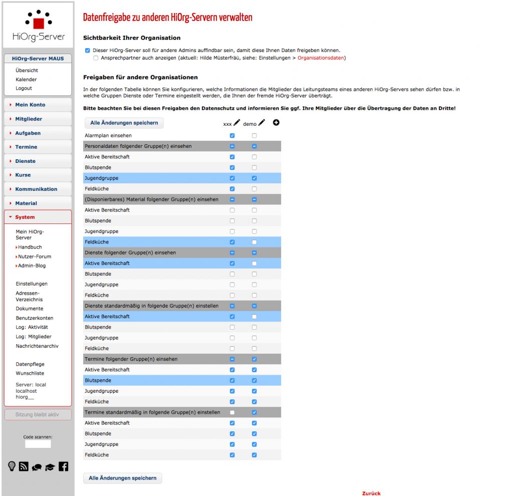 Datenfreigabe zu anderen HiOrg-Servern verwalten