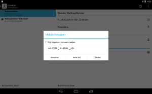 Screen Android-App auf Tablet